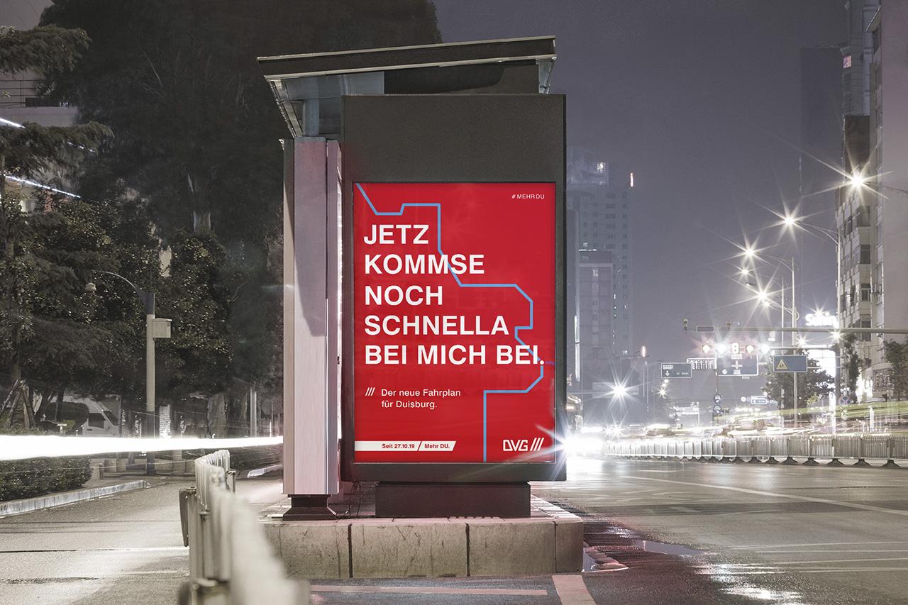 DVG Duisburg Kampagne fahrplanwechsel Jetz kommse noch schnella bei mich bei